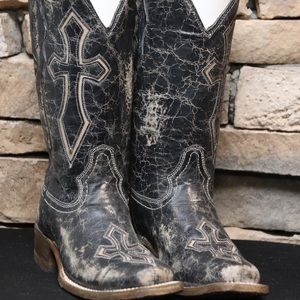 Corral Black & Bone Cross Inlay Square The Boots